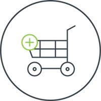 Kostenoptimiertes E-Commerce System Icon